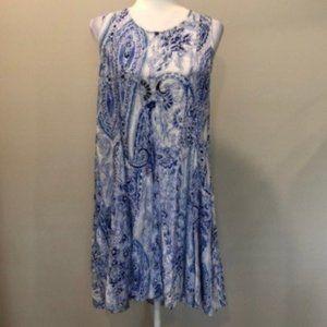 Altar'd State Blue White Sleeveless Summer Dress M